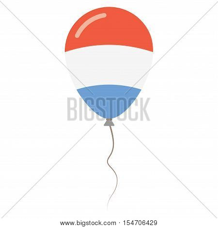 Grand Duchy Of Luxembourg National Colors Isolated Balloon On White Background. Independence Day Pat