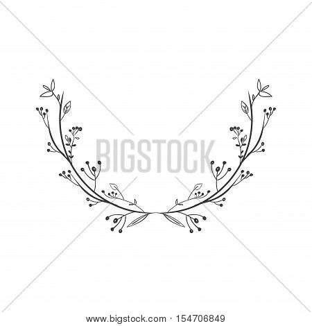 gray scale decorative simple half crown floral vector illustration