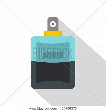 Blue perfume bottle icon. Flat illustration of blue perfume bottle vector icon for web isolated on white background