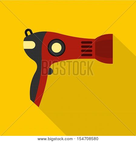 Red hairdryer icon. Flat illustration of hairdryer vector icon for web isolated on yellow background