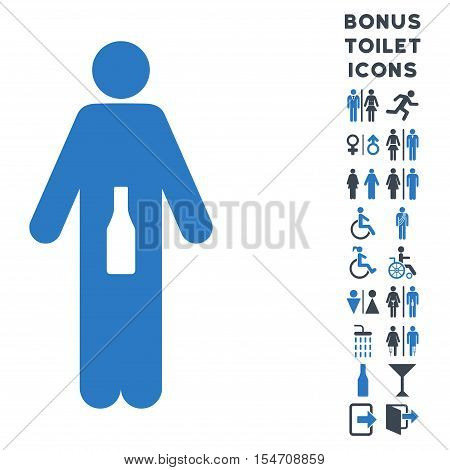 WC Man icon and bonus gentleman and female WC symbols. Vector illustration style is flat iconic bicolor symbols, smooth blue colors, white background.
