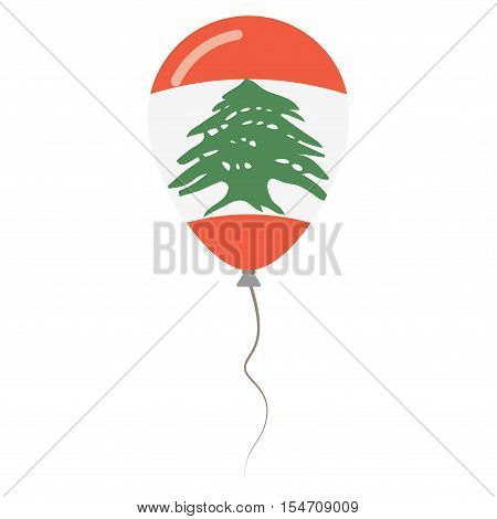 Lebanese Republic National Colors Isolated Balloon On White Background. Independence Day Patriotic P