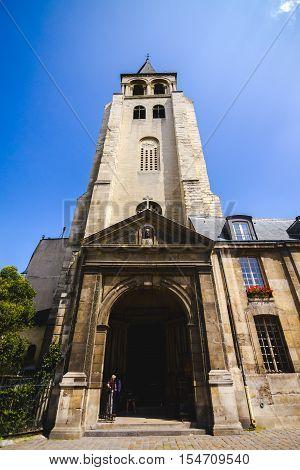 External view of the Abbey of Saint-Germain-des-Prés in St Germain Paris France.