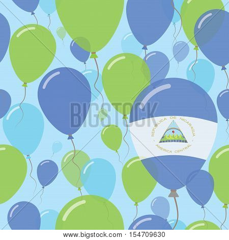 Nicaragua National Day Flat Seamless Pattern. Flying Celebration Balloons In Colors Of Nicaraguan Fl