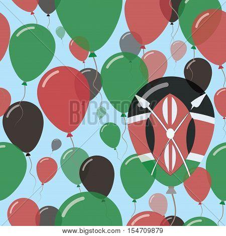 Kenya National Day Flat Seamless Pattern. Flying Celebration Balloons In Colors Of Kenyan Flag. Happ