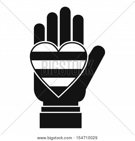 Hand holding heart of LGBT icon. Simple illustration of hand holding heart of LGBT vector icon for web