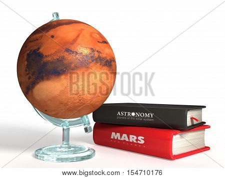 globe of Mars on the background of thematic books