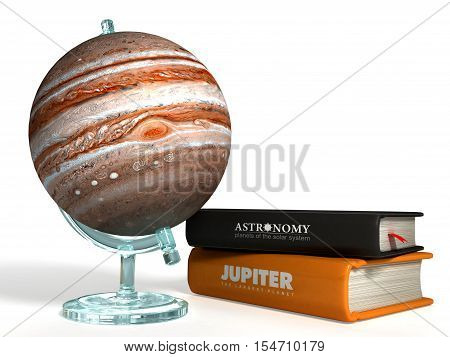 globe of Jupiter on the background of thematic books