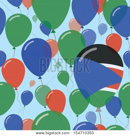 South Sudan National Day Flat Seamless Pattern. Flying Celebration Balloons In Colors Of South Sudan