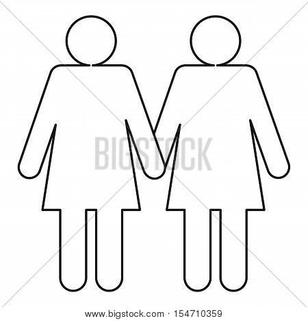 Two girls lesbians icon. Outline illustration of two girls lesbians vector icon for web