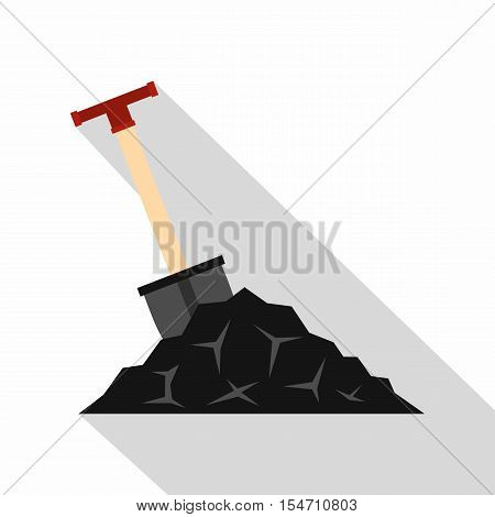 Shovel in coal icon. Flat illustration of shovel in coal vector icon for web