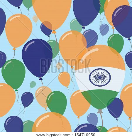 India National Day Flat Seamless Pattern. Flying Celebration Balloons In Colors Of Indian Flag. Happ
