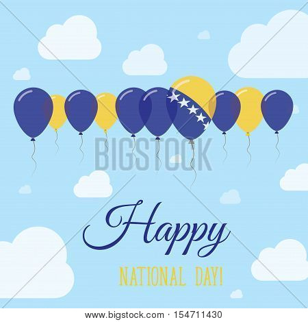 Bosnia And Herzegovina National Day Flat Patriotic Poster. Row Of Balloons In Colors Of The Bosnian,