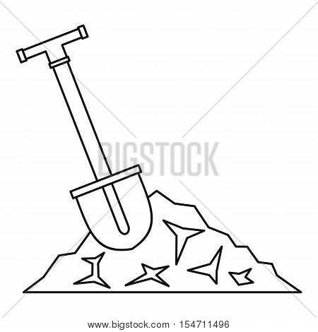 Shovel in coal icon. Outline illustration of shovel in coal vector icon for web