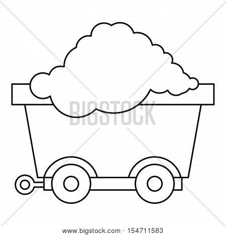 Cart on wheels with coal icon. Outline illustration of cart on wheels with coal vector icon for web