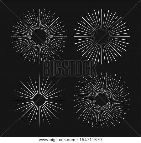 Set of vintage hand drawn sunbursts. Sunburst Shine, Sunburst Design. Collection of vector sunburst