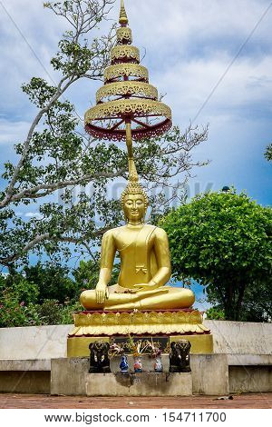 The budha in thai tample at the outdoor.