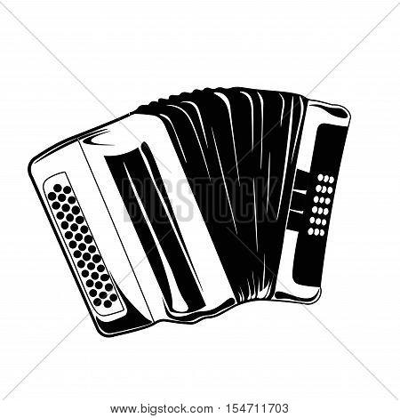 Hand drawn accordion. Musical instruments. Classical bayan. Vector Illustration