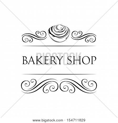 Cakes. Baker Shop Badge. Bakery Label. Decorated With filigree Curls, Curls Vector Illustration