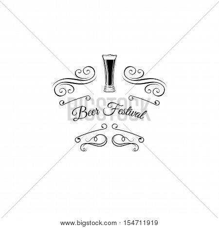 Dark Beer Glass. Beer bottle. Beer mug. Brewery beer. Alcohol glass beer. Brewery alcohol bar menu. Alcohol beer filigree menu. flourish frame vintage element scroll frame. Vintage swirl.