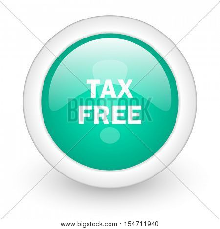 tax free round glossy web icon on white background