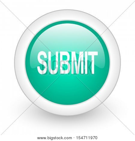 submit round glossy web icon on white background