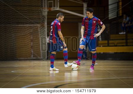 VALENCIA, SPAIN - OCTOBER 28th: 2 Cecilio, 19 Pizarro during Spanish league match between Levante UD FS and Catgas Energia at Cabanyal Stadium on October 28, 2016 in Valencia, Spain
