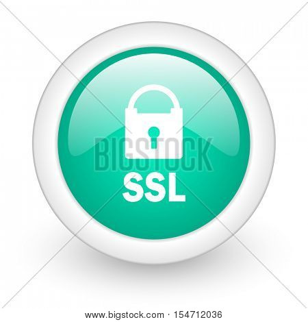 ssl round glossy web icon on white background