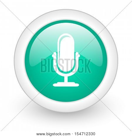 microphone round glossy web icon on white background