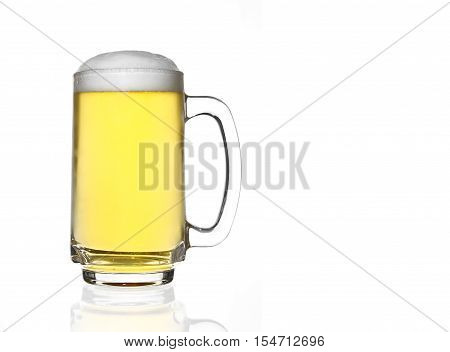front view frosty lager light beer full glass and white bubbles in clear glass with handle and steam for winter drink or celebration isolated on white background and reflection for beer glass with space