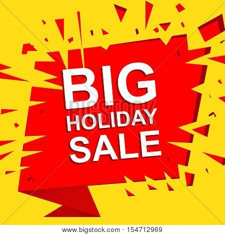 Big sale poster with BIG SALE text. Advertising boom and red  banner template