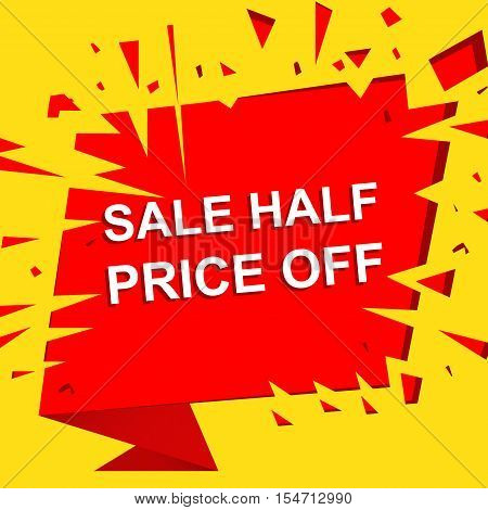 Big sale poster with BAKE SALE text. Advertising yellow and red  banner template
