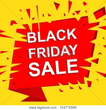 Big sale poster with BLACK FRIDAY SALE text. Advertising yellow and red  banner template