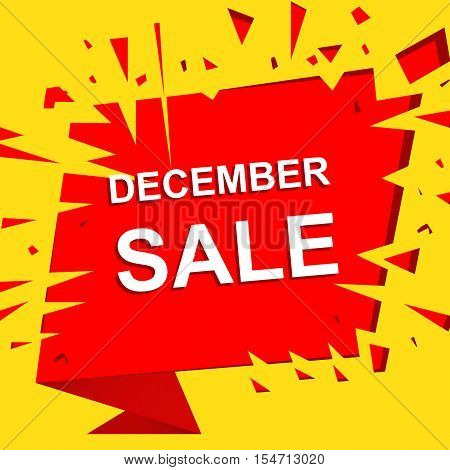 Big sale poster with DECEMBE SALE text. Advertising boom and red  banner template