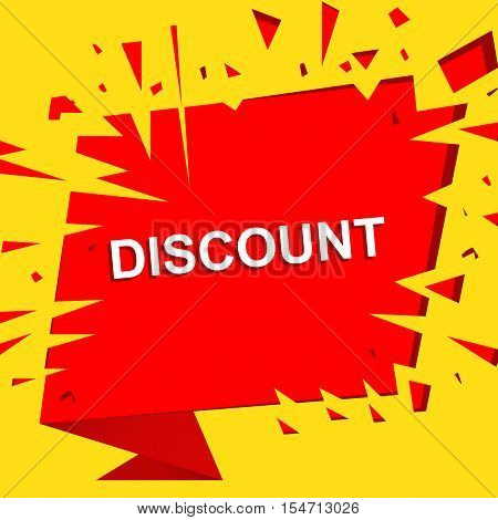 Big sale poster with DISCOUNT text. Advertising boom and red  banner template
