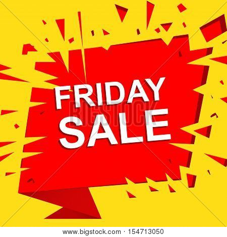 Big sale poster with FRIDAY SALE text. Advertising yellow and red banner template
