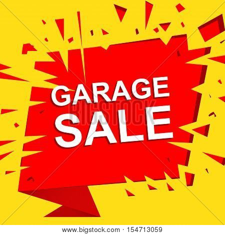 Big sale poster with GARAGE SALE text. Advertising yellow and red  banner template