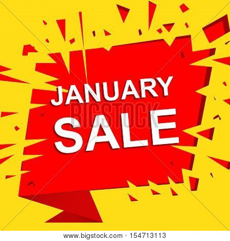 Big sale poster with JANUARY SALE text. Advertising boom and red  banner template