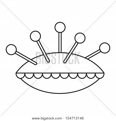 Pillow with needles icon. Outline illustration of pillow with needles vector icon for web