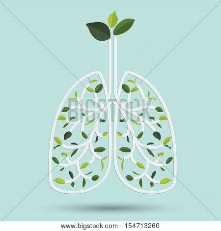 Lungs with Green leaf. Gray outline vector illustration. Human lungs. Medical flat illustration. Health care. Tree branches like the lungs. Branches with leaves.