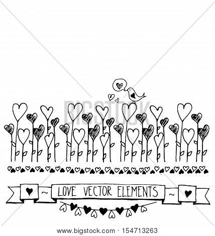 Card with the contours of the doodle hearts. Vector abstract floral decorative background with hearts. Hand drawn vector illustration. Romantic sketch with ribbons, hearts