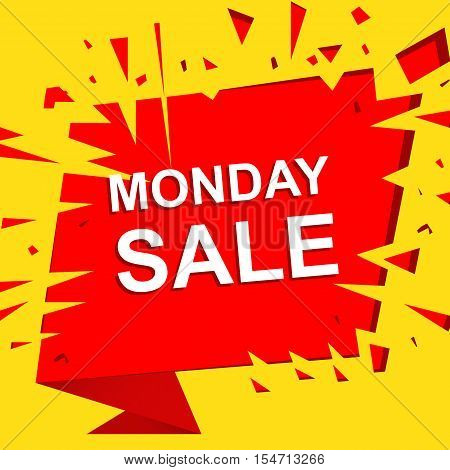 Big sale poster with MONDAY SALE text. Advertising boom and red  banner template