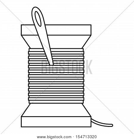 Needle and thread icon. Outline illustration of needle and thread vector icon for web