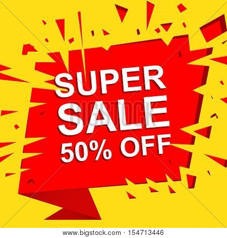 Big sale poster with SUPER SALE 50 PERCENT OFF text. Advertising yellow and red  banner template