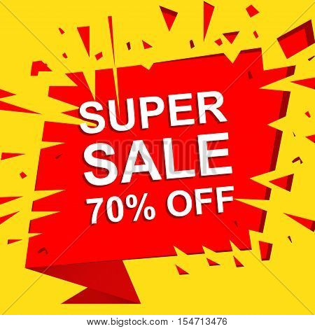 Big sale poster with SUPER SALE 70 PERCENT OFF text. Advertising boom, red  banner template