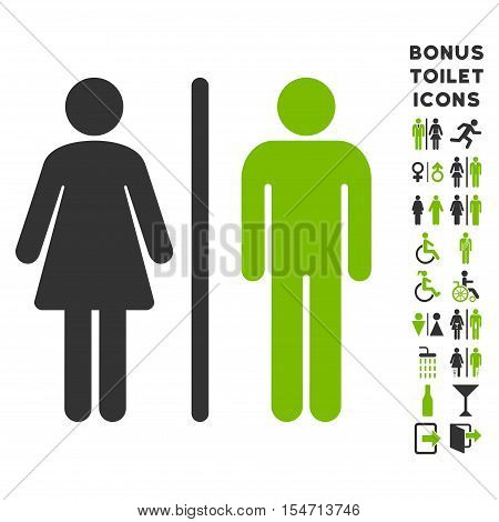 WC Persons icon and bonus gentleman and female restroom symbols. Vector illustration style is flat iconic bicolor symbols, eco green and gray colors, white background.