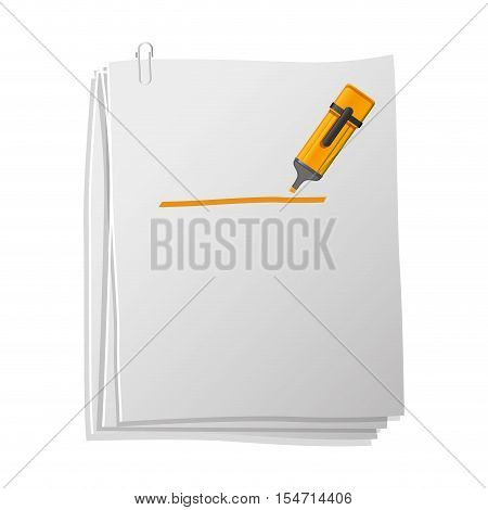 sheets of paper with highlighter pen vector illustration