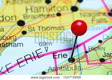 Erie pinned on a map of Pennsylvania, USA