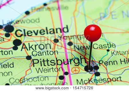 Pittsburgh pinned on a map of Pennsylvania, USA