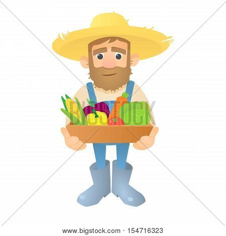 Farmer with vegetables icon. Flat illustration of farmer with vegetables vector icon for web